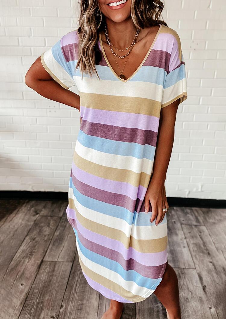Colorful Striped Asymmetric Casual Dress