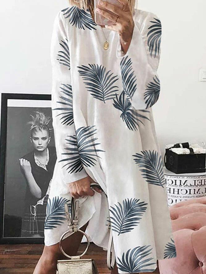 Leaf O-Neck Long Sleeve Loose Casual Dress - White