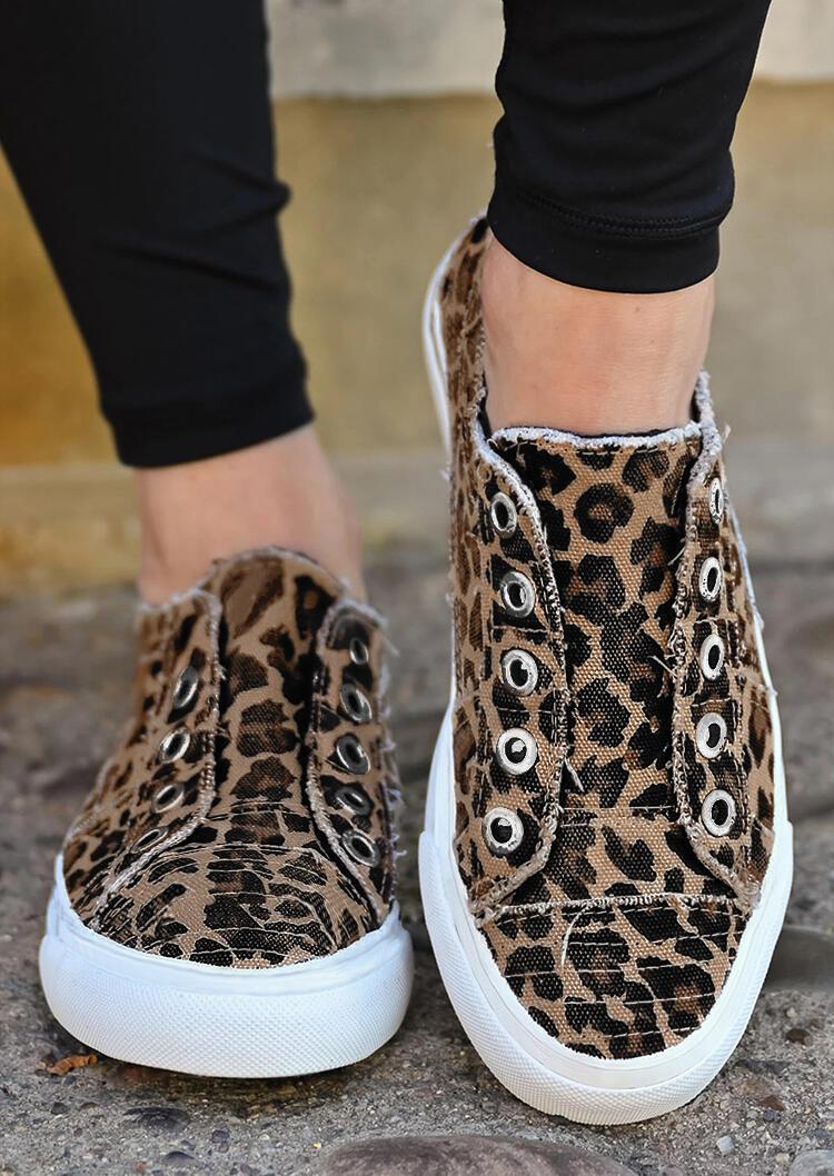Leopard Slip On Flat Canvas Sneakers