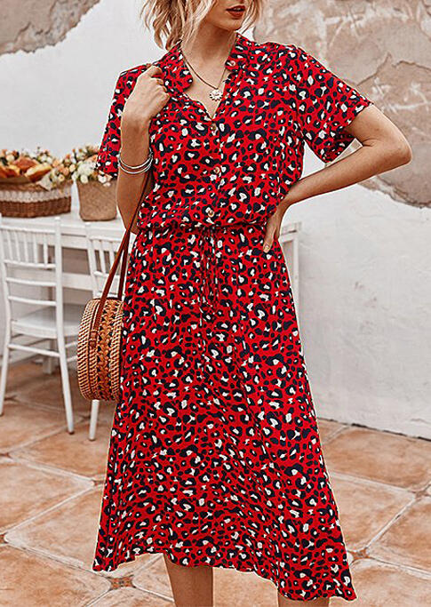 Leopard Button Drawstring V-Neck Casual Dress - Red