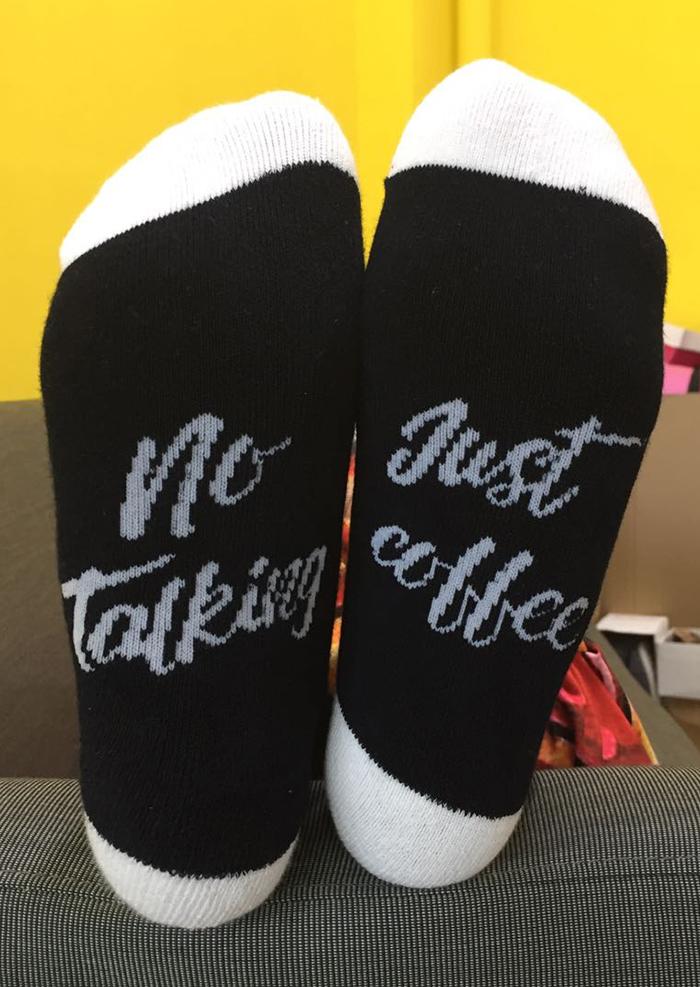No Talking Just Coffee Socks