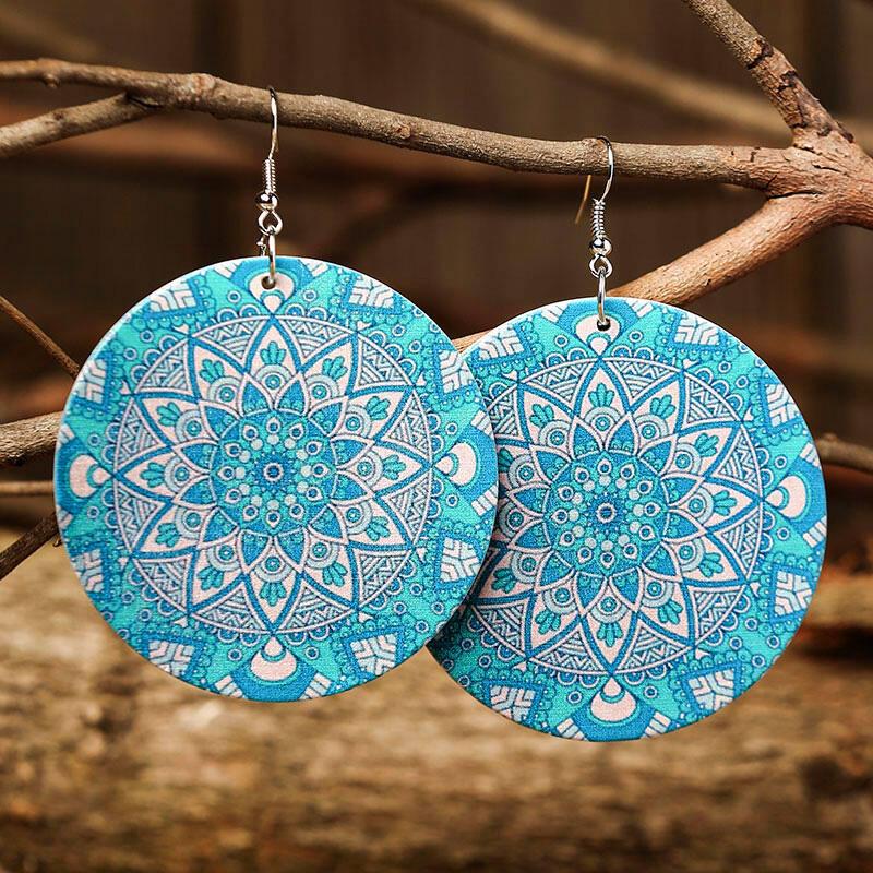 Vintage Geometric Mandala Paisley Earrings