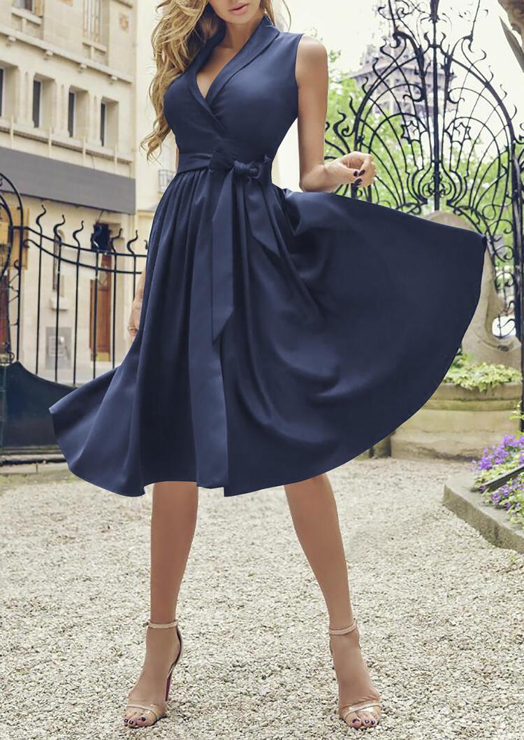 Vintage Ruffled V-Neck X-Line Sleeveless Casual Dress - Deep Blue