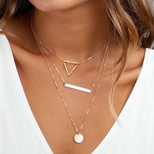 Geometric Hollow Out Triangle Multi-Layered Pendant Necklace