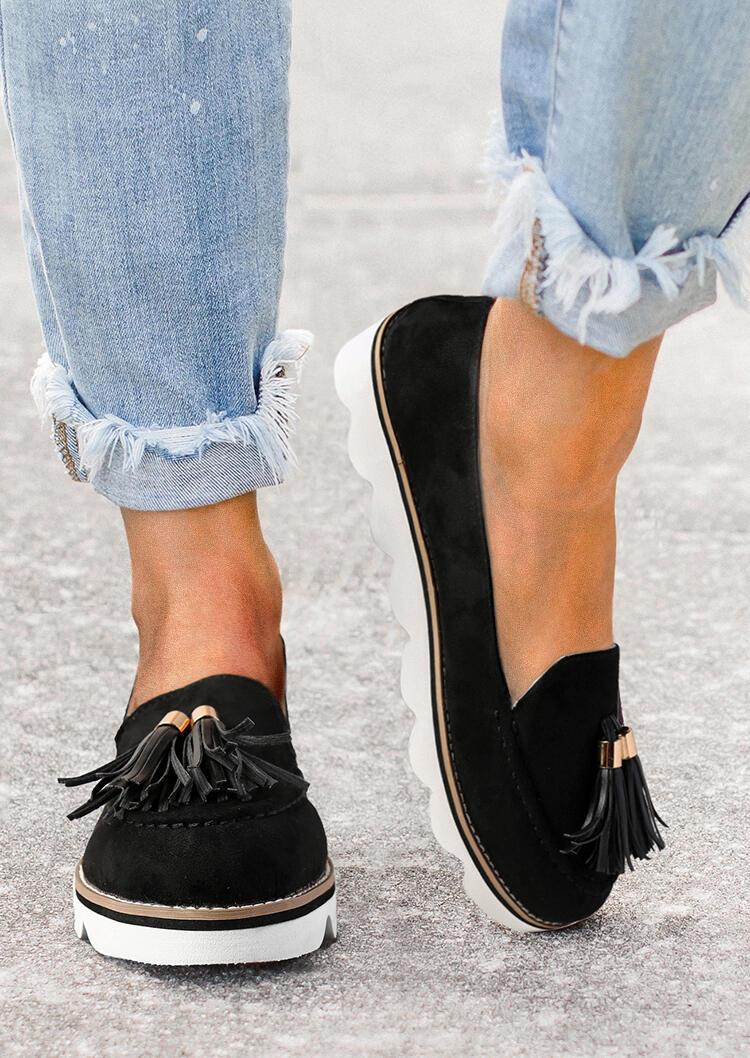 Tassel Slip On Round Toe Sneakers - Black
