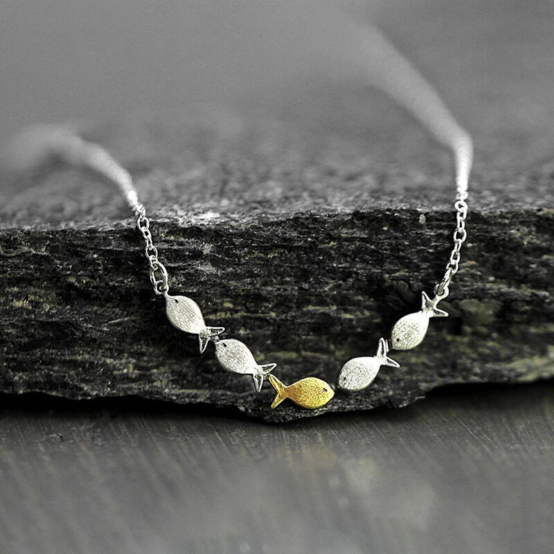 Swimming Against The Current Fish Pendant Necklace