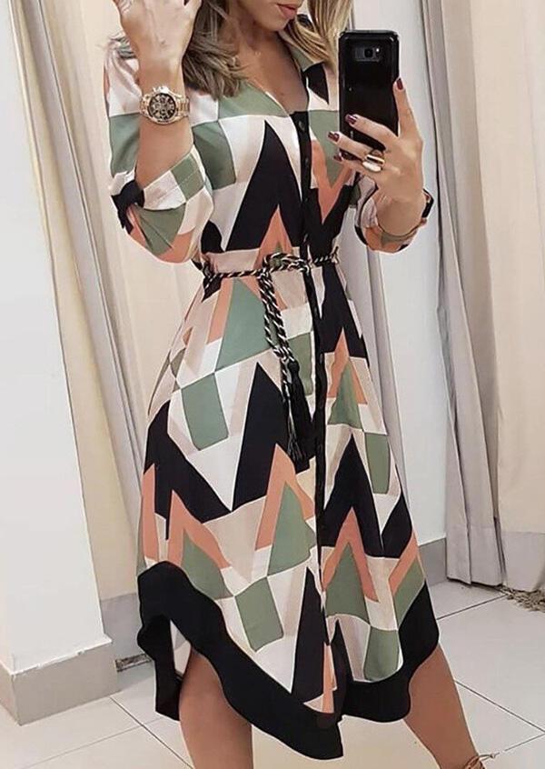 Geometric Asymmetric Long Sleeve V-Neck Casual Dress
