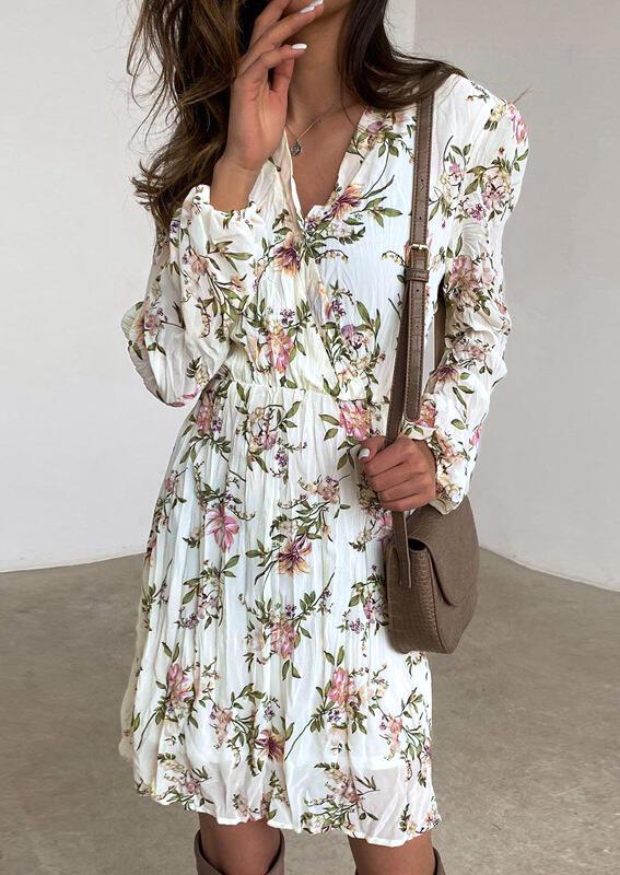 Floral Ruffled V-Neck Elastic??Cuff Casual Dress - White