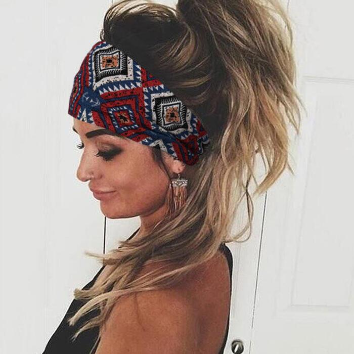 Bohemian Geometric Floral Wide Stretchy Headband