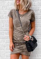 Presale - Tie Dye Wrap Ruffled Bodycon Dress - Light Brown