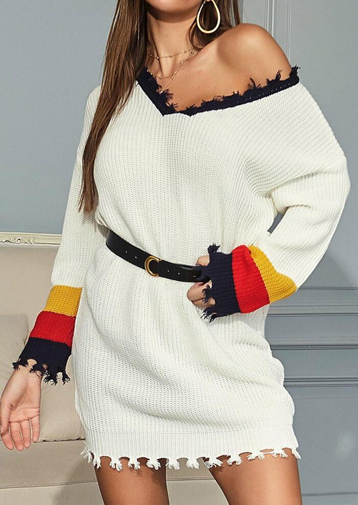 Color Block Tassel V-Neck Knitted Mini Dress without Belt - White