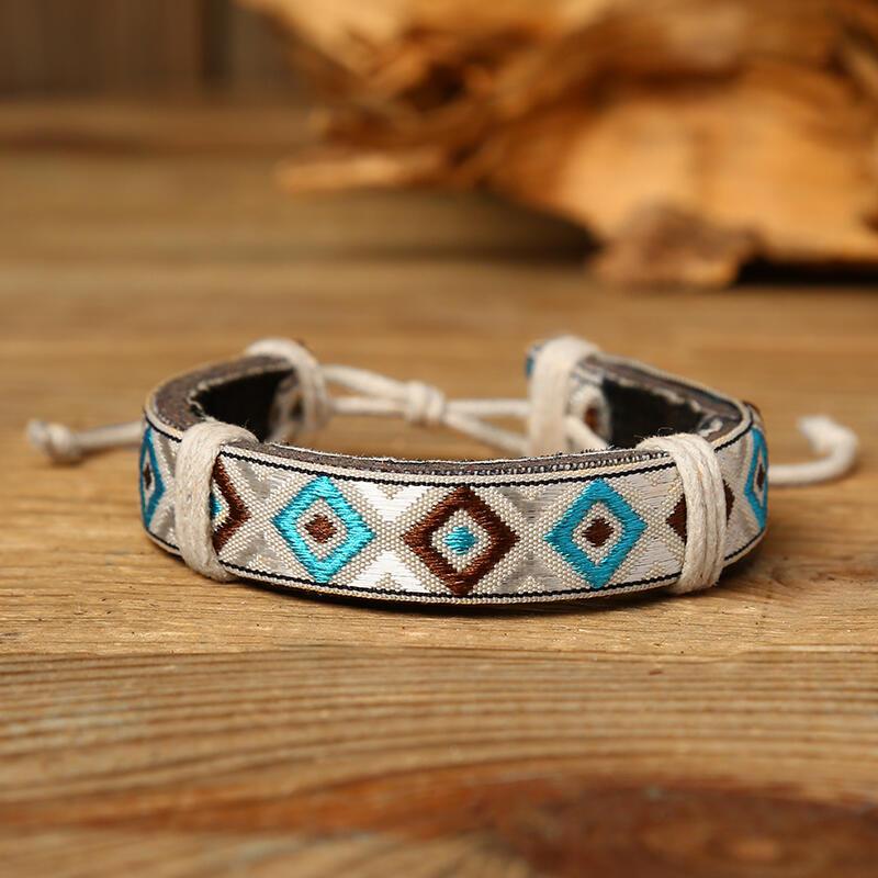 Adjustable Ethnic Style Geometric Braided Bracelet