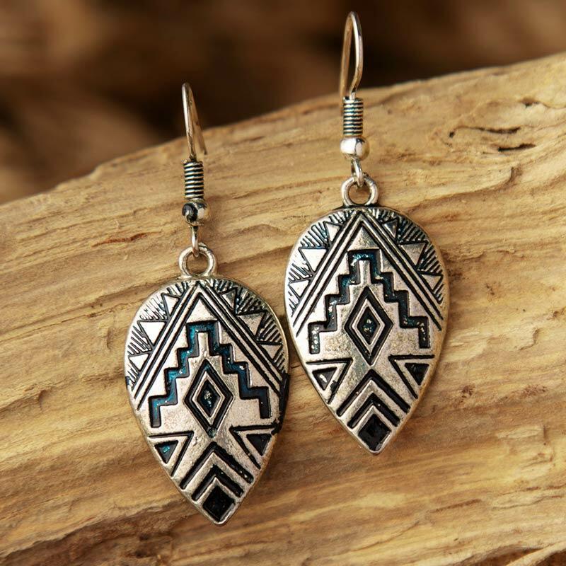 Vintage Nepalese Geometric Pendant Earrings