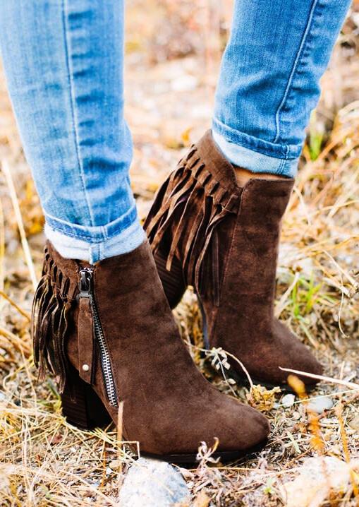 Western Tassel Zipper Chunky Heel Ankle Boots - Brown