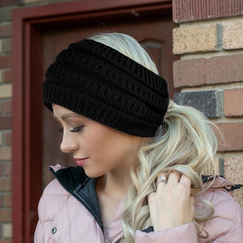 Winter Warm Empty Top Beanie Knitted Ponytail Hat