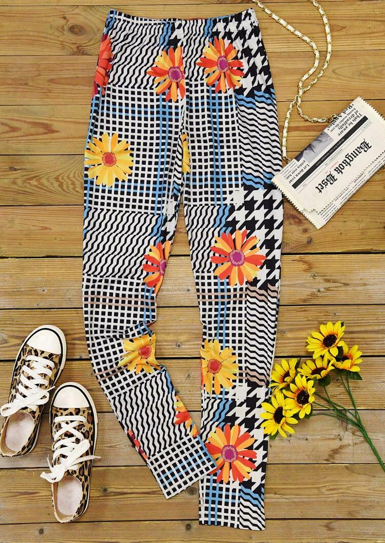 Plaid Houndstooth Sunflower Elastic Waist Leggings