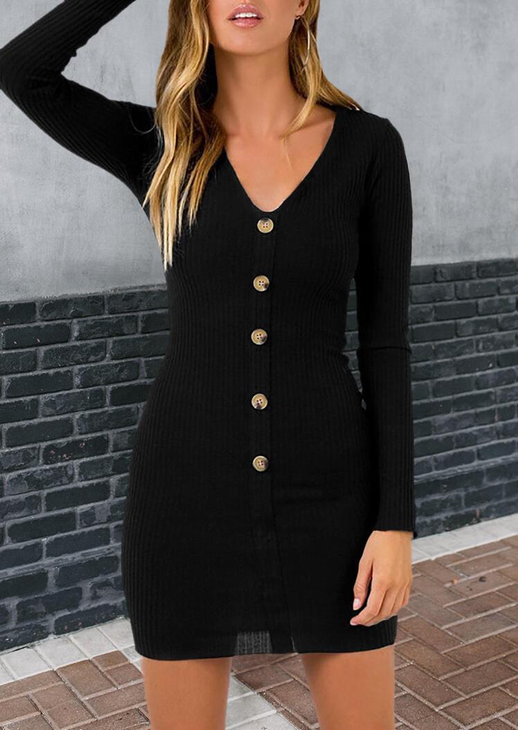 Button Down V-Neck Knitted Mini Dress - Black