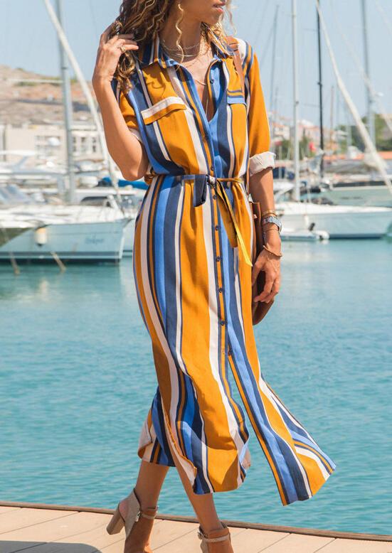 Colorful Striped Button Slit Maxi Dress