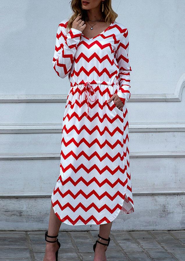 Wave Striped Drawstring Pocket Slit Casual Dress - Red