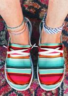 Serape Striped Lace Up Flat Canvas Sneakers