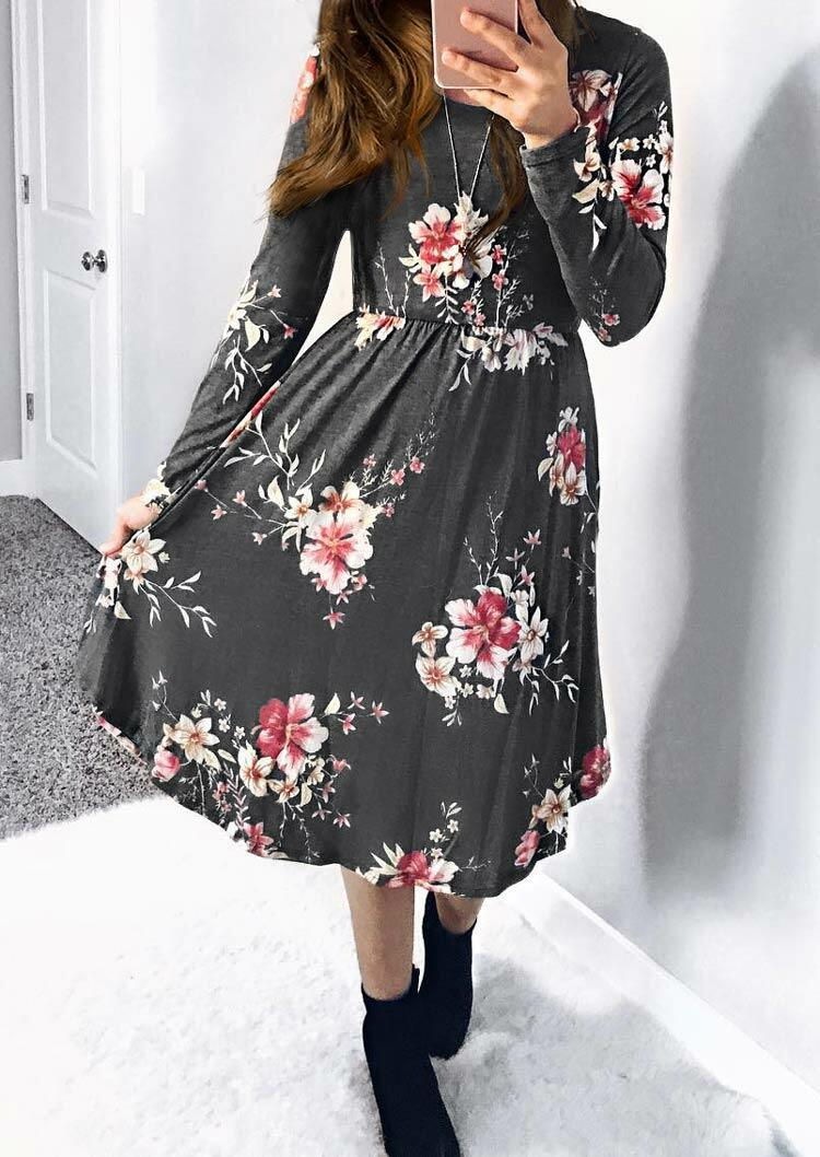 Floral Ruffled Long Sleeve Casual Dress - Gray