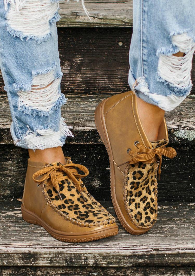 Leopard Lace Up Round Toe Flat Boots - Khaki