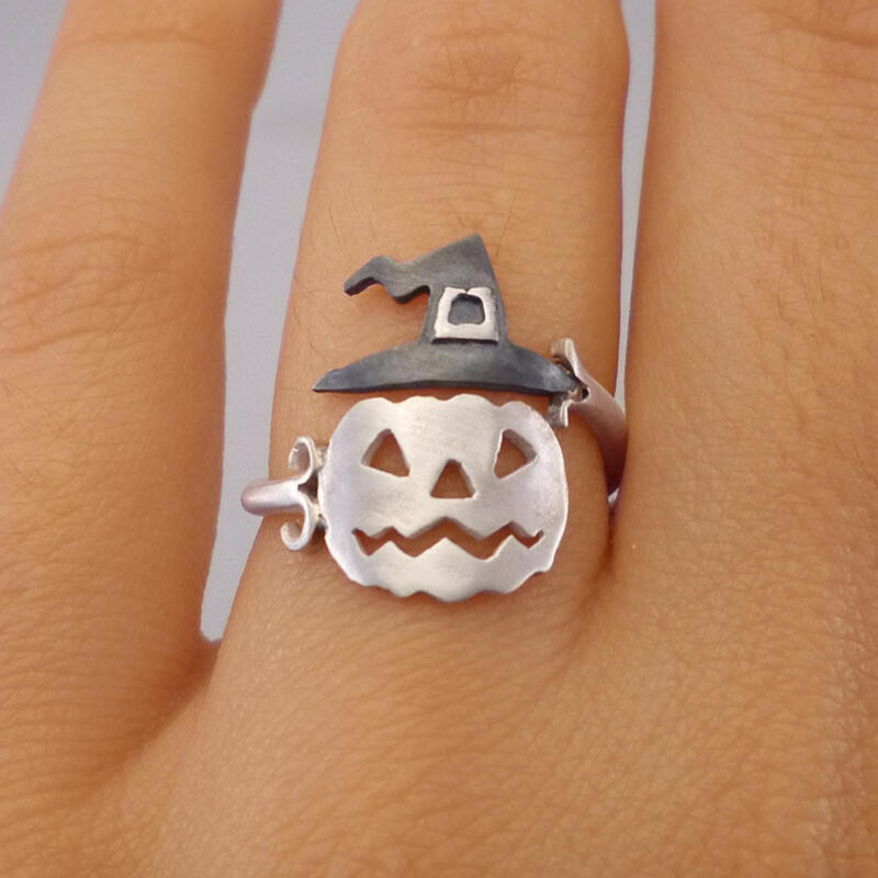 Halloween Pumpkin Face Witch Hat Open Adjustable Alloy Ring
