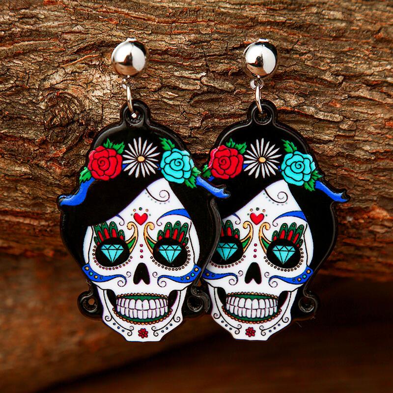 Halloween Skull Ghost Acrylic Pendant Earrings