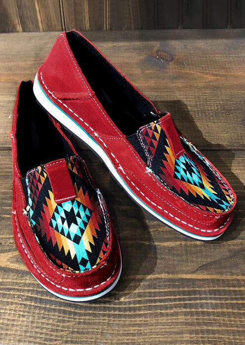 Aztec Geometric Slip On Canvas Sneakers - Red
