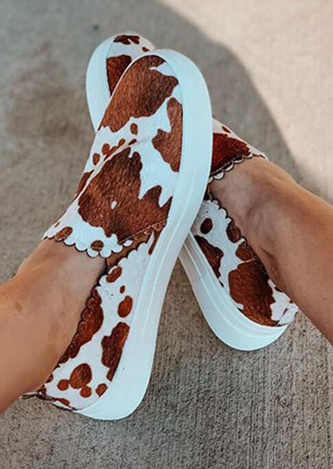 Cow Slip On Round Toe Flat Sneakers - Brown