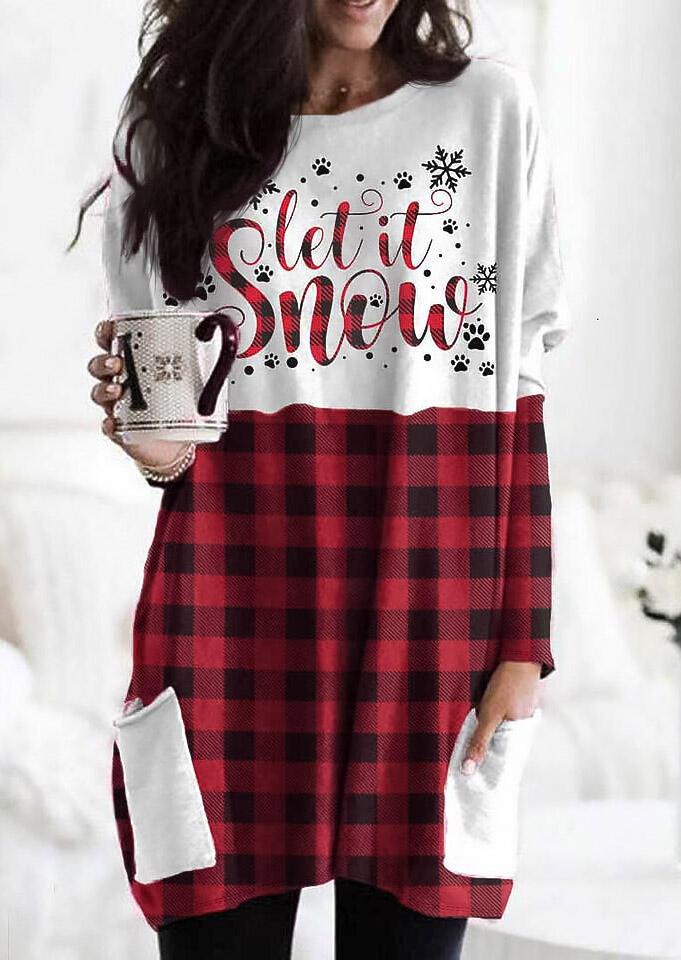 Christmas Buffalo Plaid Splicing Pocket Let It Snow Paw Mini Dress