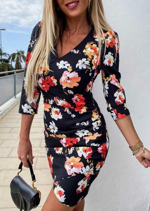 Floral V-Neck Zipper Asymmetric Bodycon Dress - Black