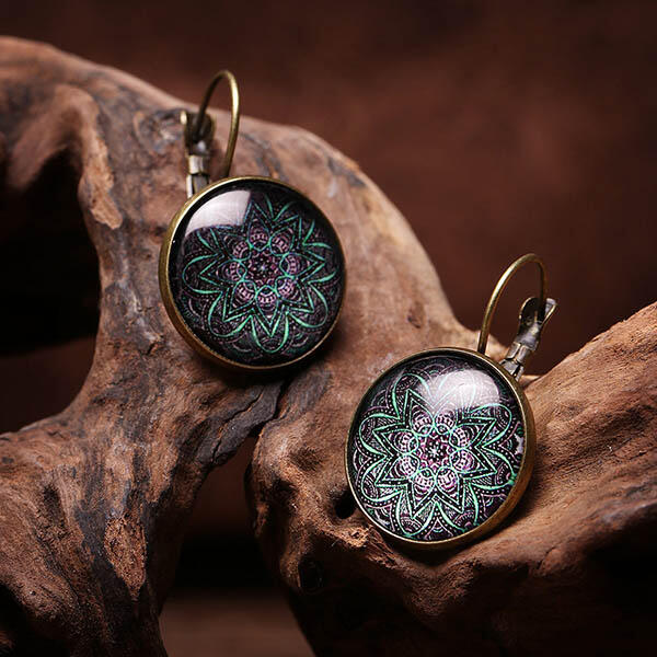 Vintage Bohemian Mandala Flower Drop Earrings
