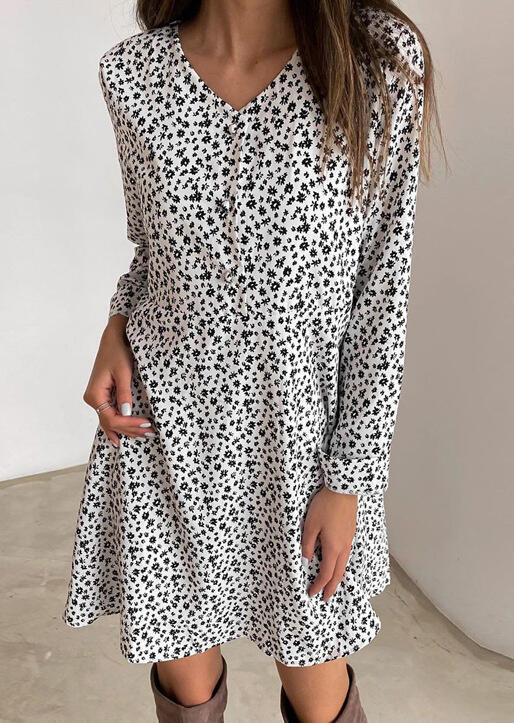 Floral Button Elastic Waist  V-Neck Mini Dress - White