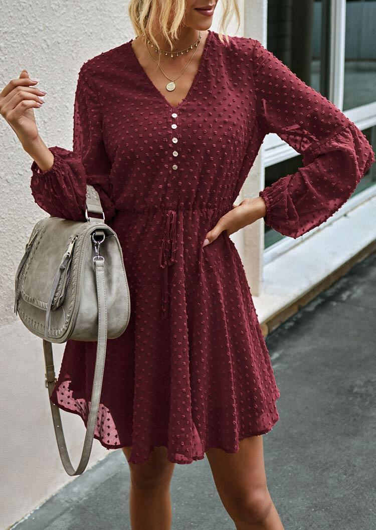 Dotted Swiss Ruffled Tie Button Elastic Cuff Mini Dress - Burgundy
