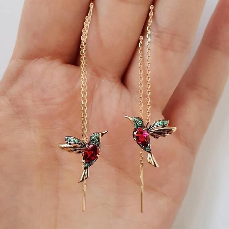 Hummingbird Rhinestone Stud Threader Long Drop Earrings