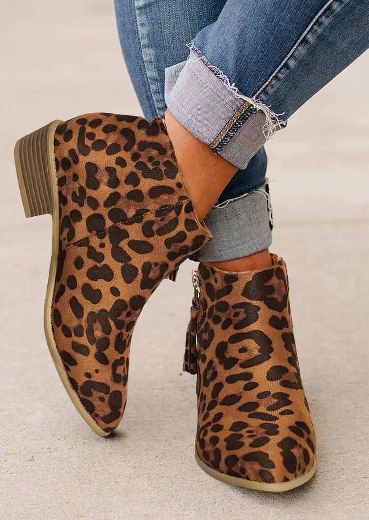 Leopard Tassel Round Toe Zipper Chunky Heel Ankle Boots
