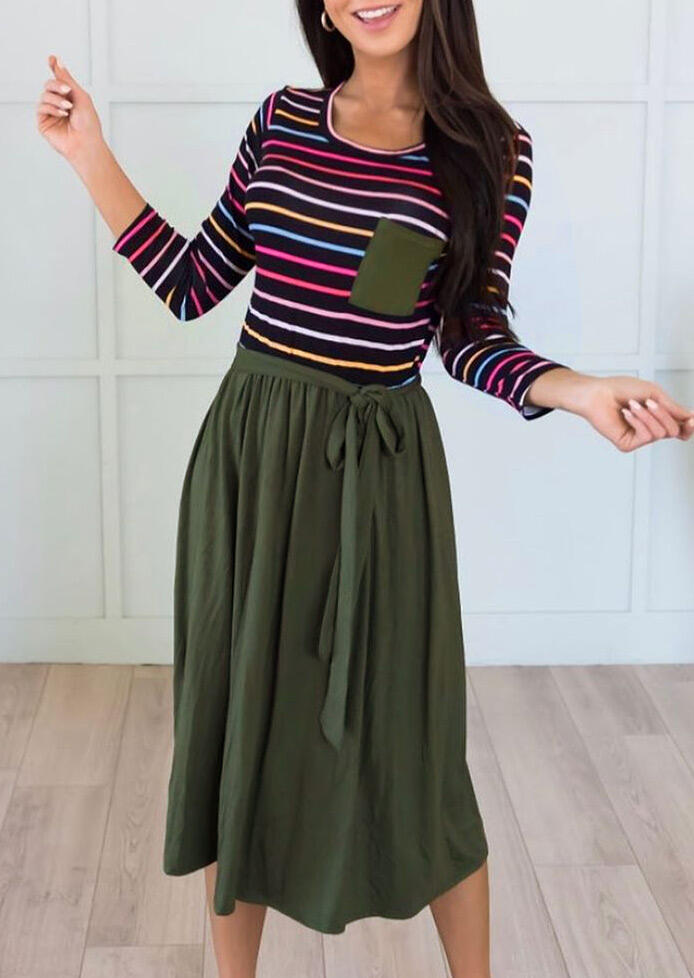Colorful Striped Splicing Pocket Casual Dress - Army Green