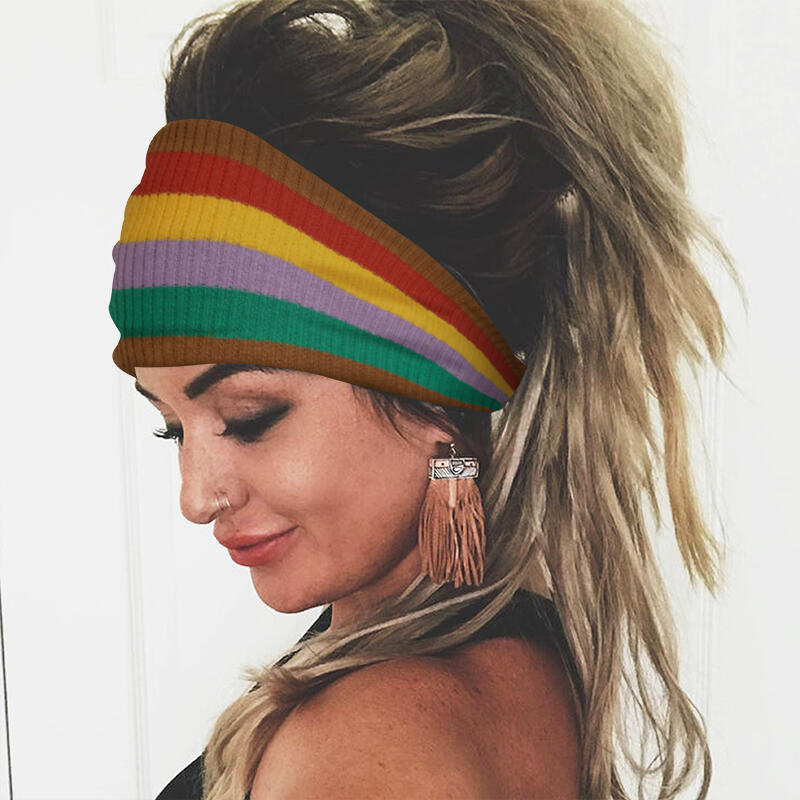 Colorful Striped Twist Knitted Yoga Sports Wide Headband