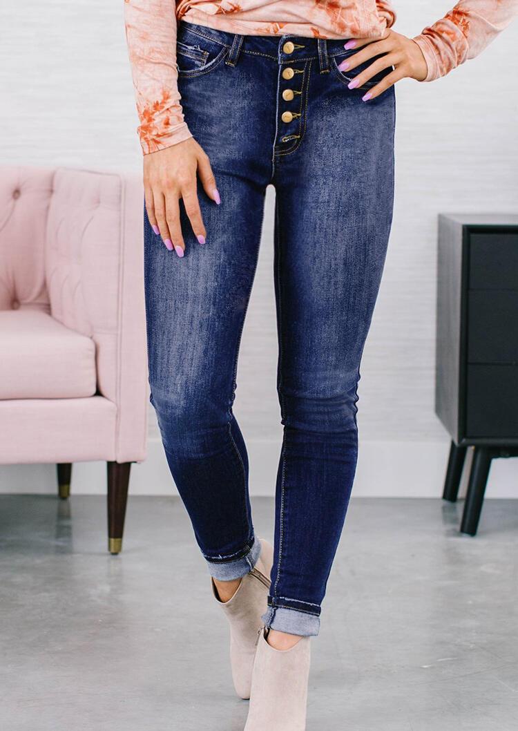Pocket Button High Waist Denim Pants - Blue