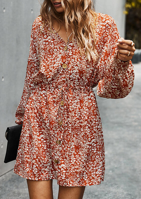 Floral V-Neck Button Drawstring Elastic Cuff Mini Dress - Brick Red
