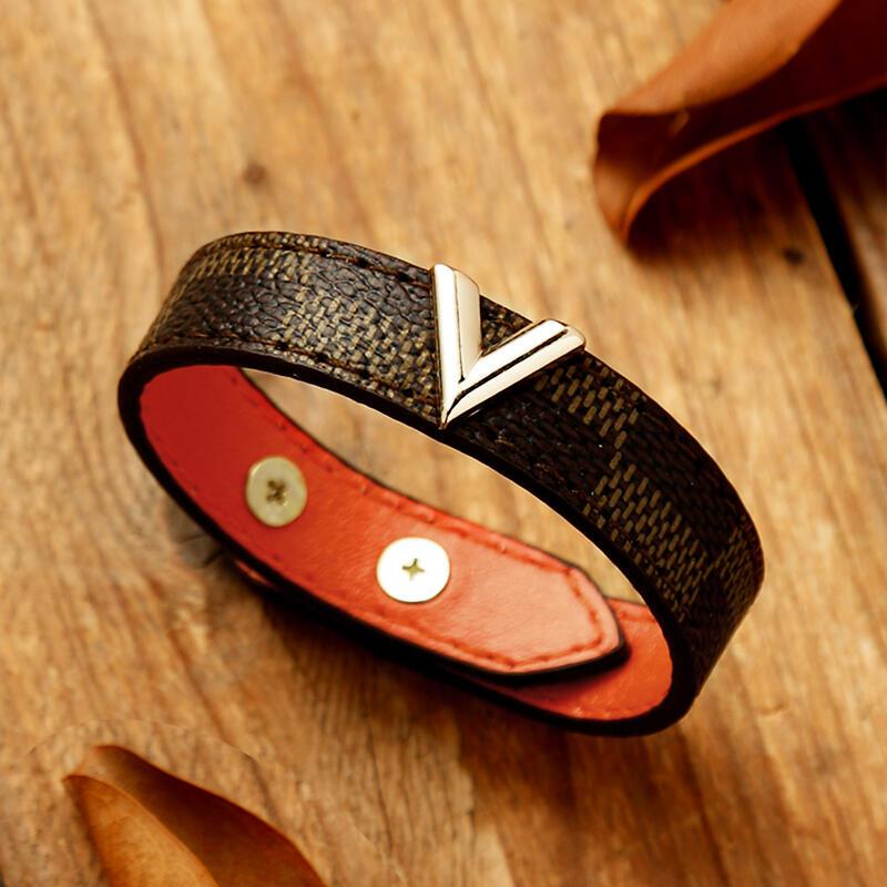 V Letter PU Leather Adjustable Bracelet