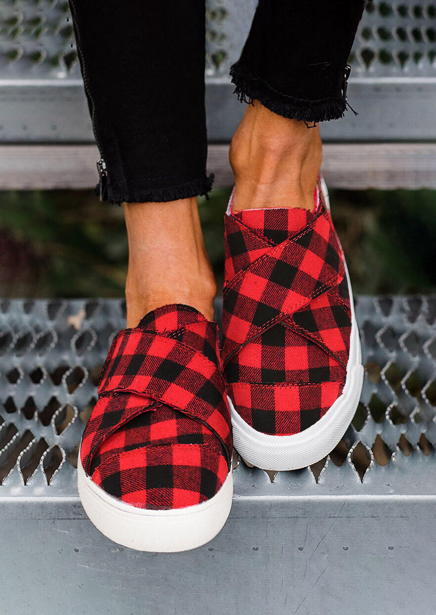 Buffalo Plaid Slip On Flat Round Toe Sneakers - Red