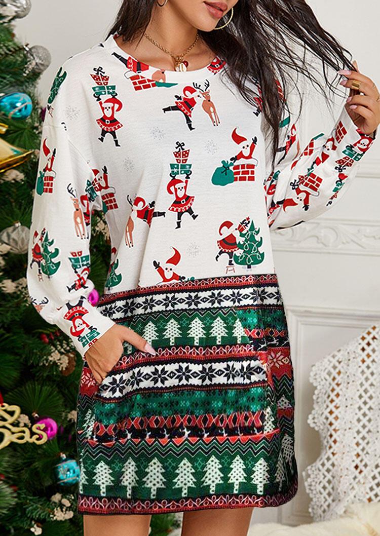 Christmas Tree Santa Claus Reindeer Kangaroo Pocket Mini Dress