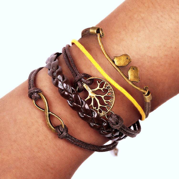 Vintage Hollow Out Tree Bird Multi-Layered Braided Bracelet