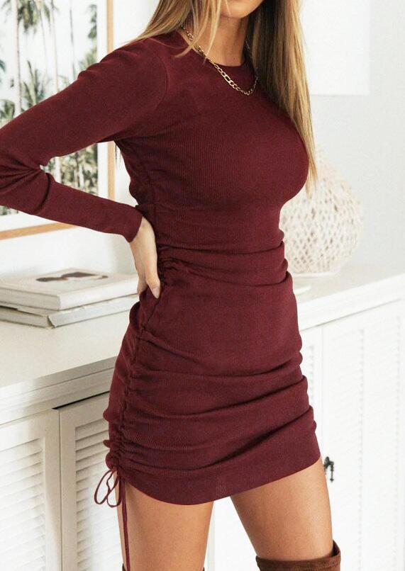 Ruched Drawstring Long Sleeve Bodycon Dress - Burgundy