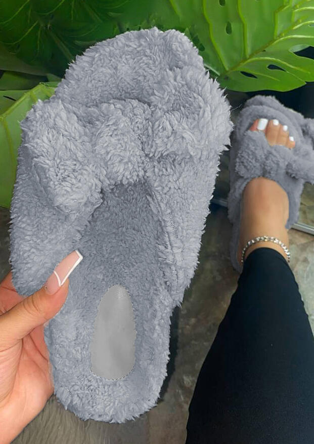 Winter Warm Plush Bowknot Flat Slippers - Gray