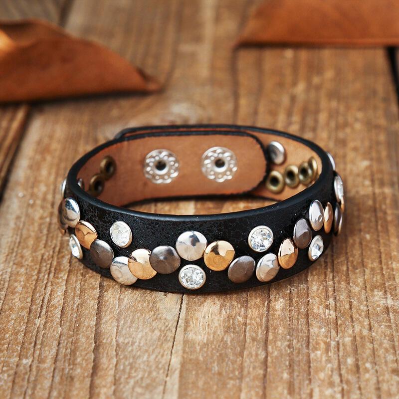 Adjustable Button Rhinestone Punk PU Leather Bracelet