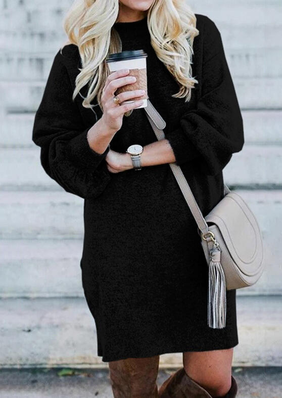 Knitted O-Neck Sweater Mini Dress - Black