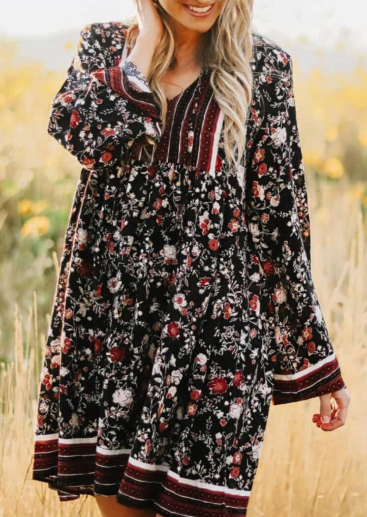 Vintage Floral Hollow Out Tie Long Sleeve Casual Dress
